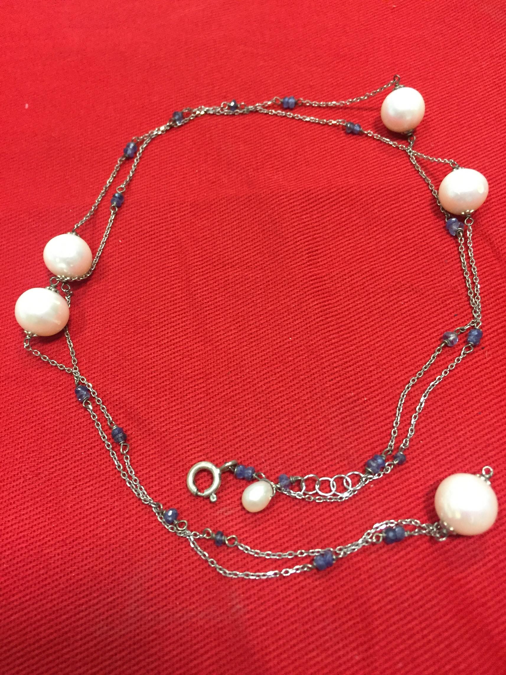 Rif. n. 334 Collana zaffiri più perle Wing