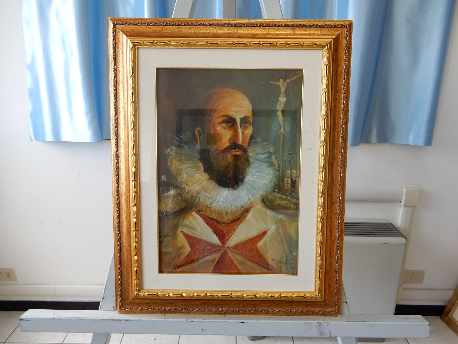 "Rif. 195) Olio su tela ""Giacomo De Molay"", misura 71 × 56"
